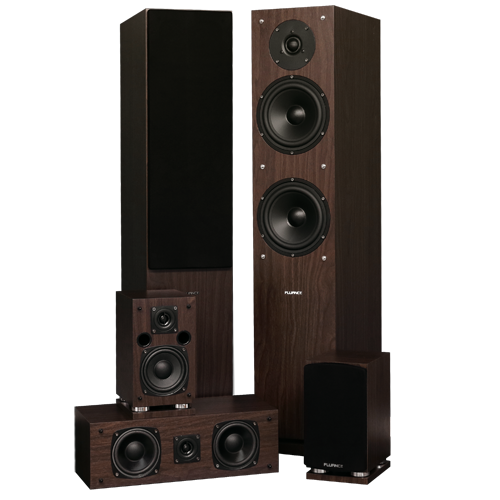 Fluance SXHTB 5.0 speaker bundle in walnut