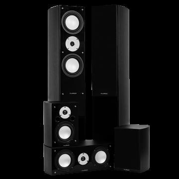 High Performance 5 Speaker Surround Sound Home Theater System - Black Ash