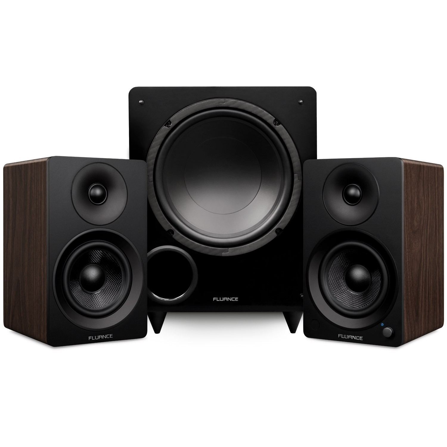 "Ai41 Powered 5"" Stereo Bookshelf Speakers and DB10 10-Inch Low Frequency Ported Front Firing Powered Subwoofer - Main"