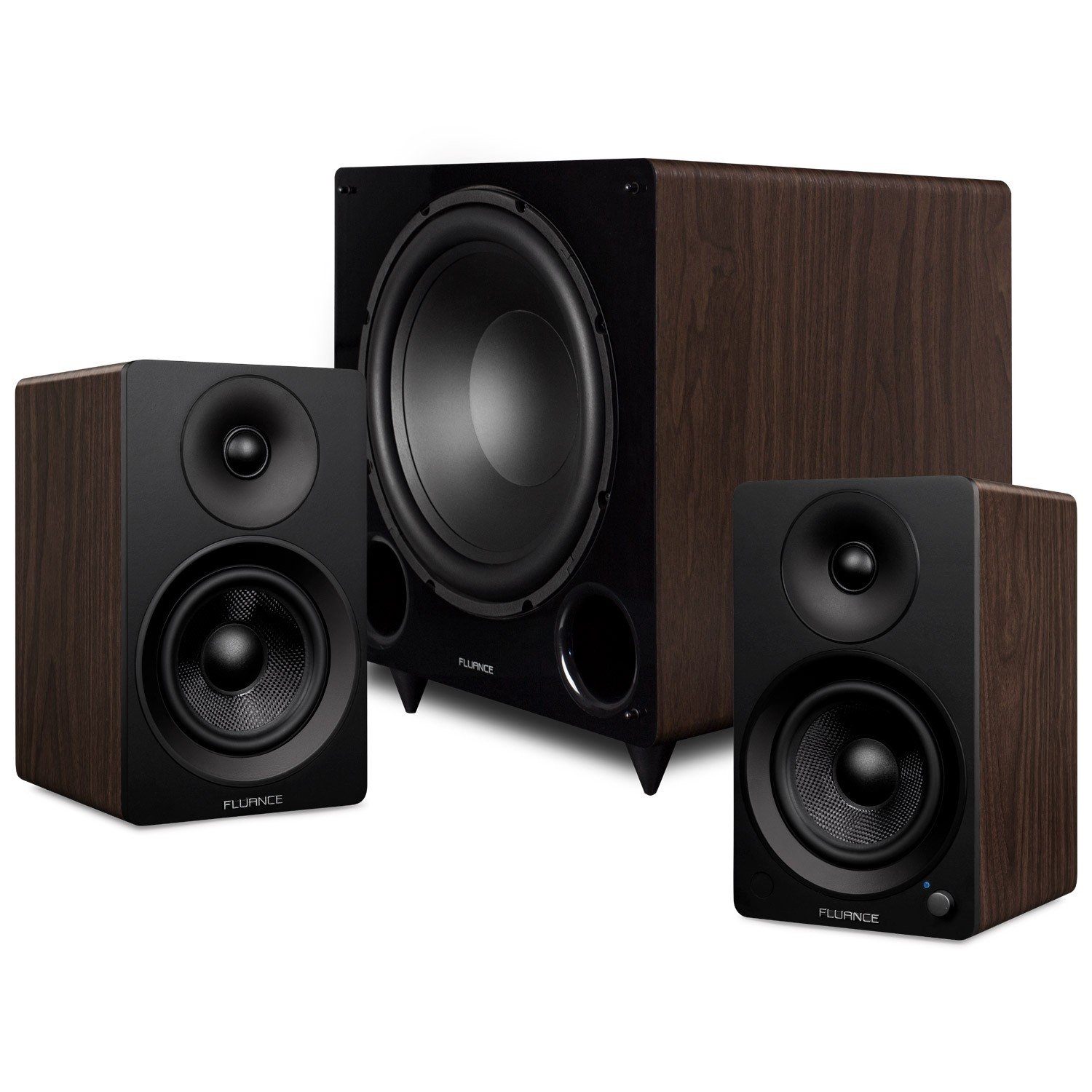 "Ai41 Powered 5"" Stereo Bookshelf Speakers and DB12 12-inch Low Frequency Ported Front Firing Powered Subwoofer"