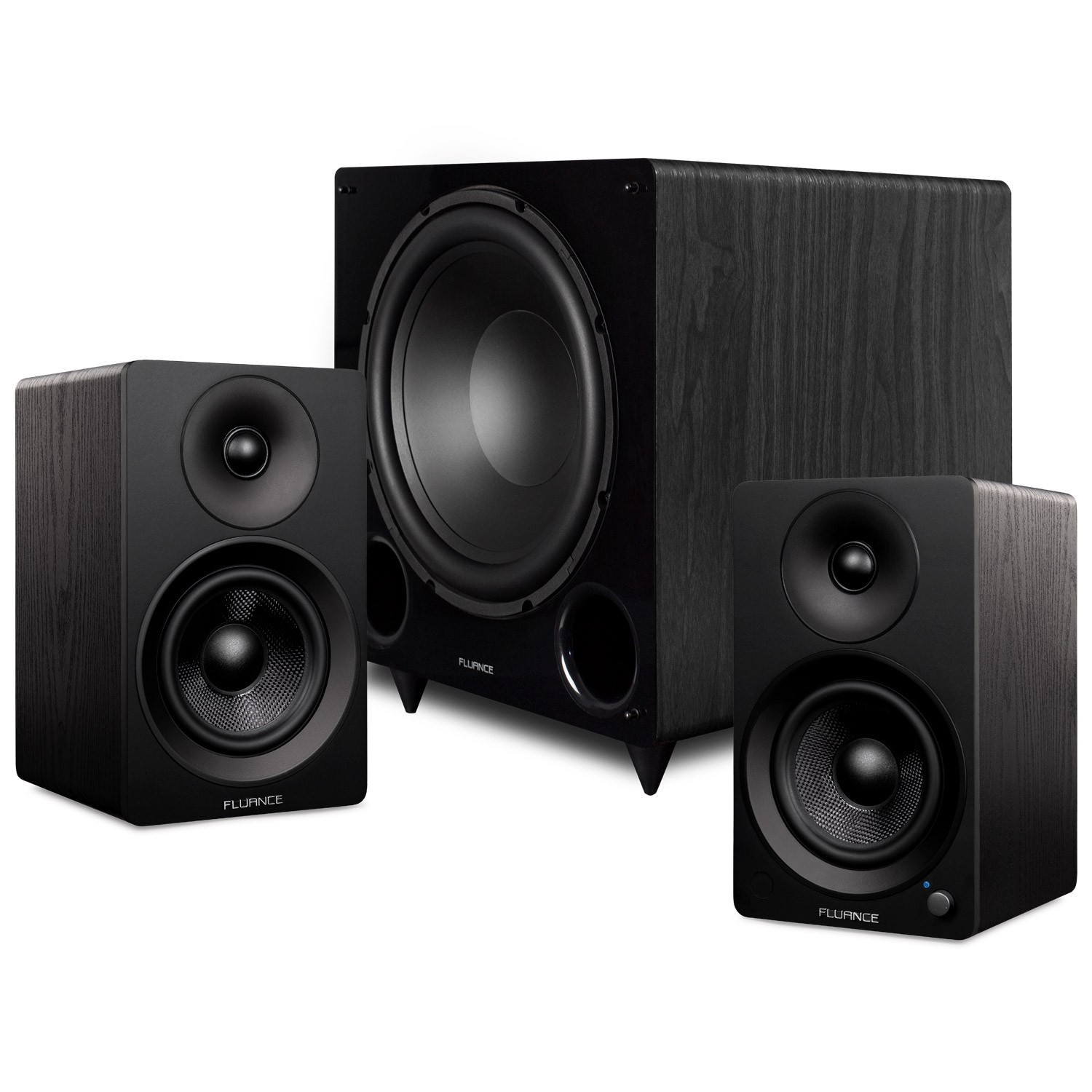 """Ai41 Powered 5"""" Stereo Bookshelf Speakers and DB12 12-inch Low Frequency Ported Front Firing Powered Subwoofer"""