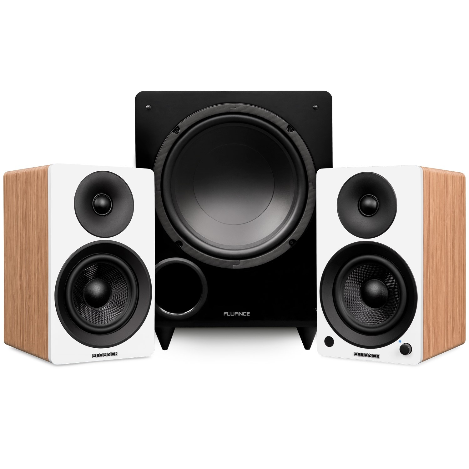 "Ai41 Powered 5"" Stereo Bookshelf Speakers and DB10 10-Inch Low Frequency Ported Front Firing Powered Subwoofer"