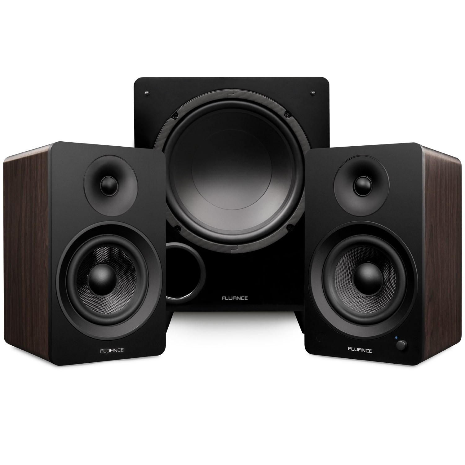 "Ai61 Powered 6.5"" Stereo Bookshelf Speakers and DB10 10-Inch Low Frequency Ported Front Firing Powered Subwoofer"