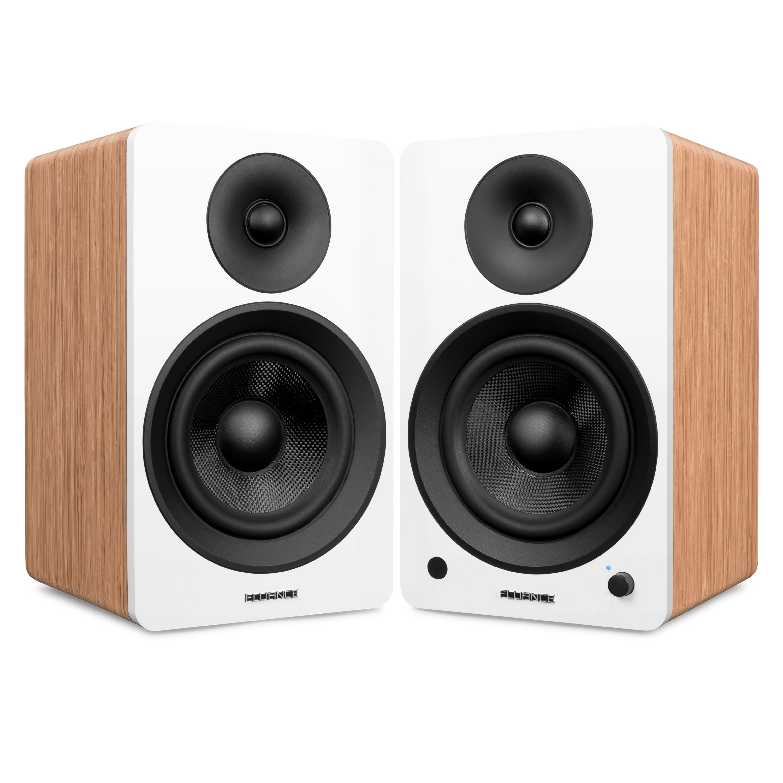 "Ai60 Powered 6.5"" High Performance Bookshelf Speakers - Bamboo"