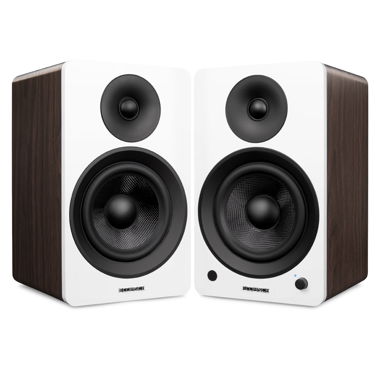 "Ai60 Powered 6.5"" High Performance Bookshelf Speakers - White & Walnut"