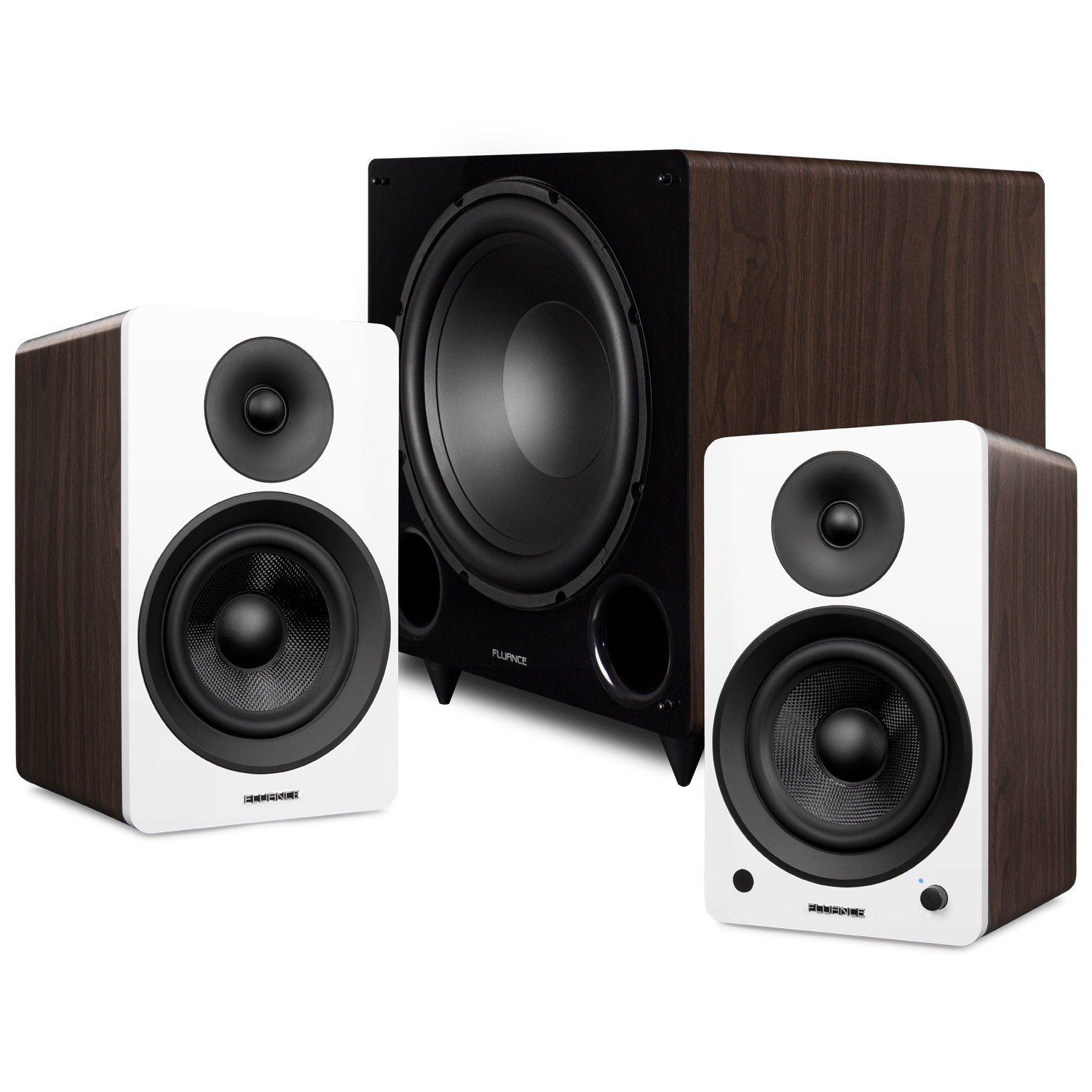"""Ai61 Powered 6.5"""" Stereo Bookshelf Speakers and DB12 12-inch Low Frequency Ported Front Firing Powered Subwoofer"""