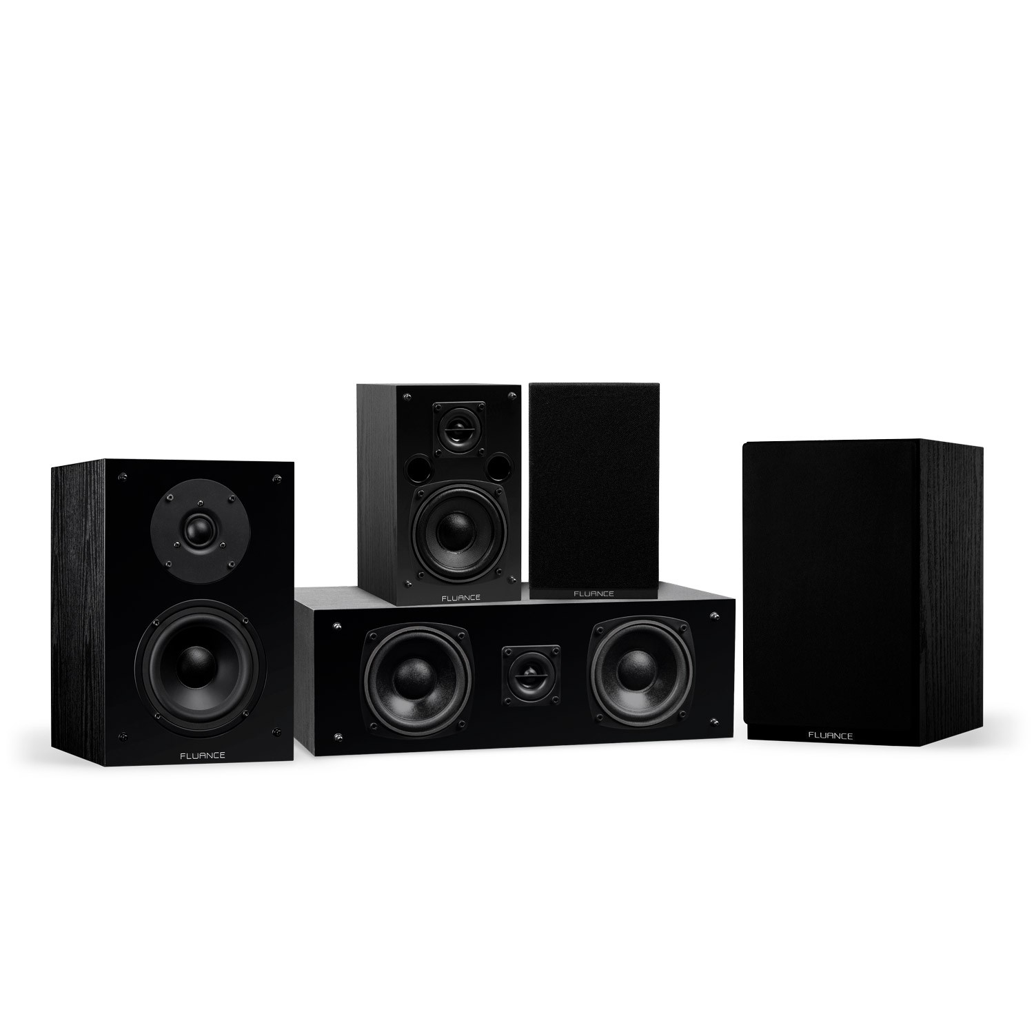 Classic Elite Series Compact Surround Sound Home Theater 5.0 Channel Speaker System - Black Ash