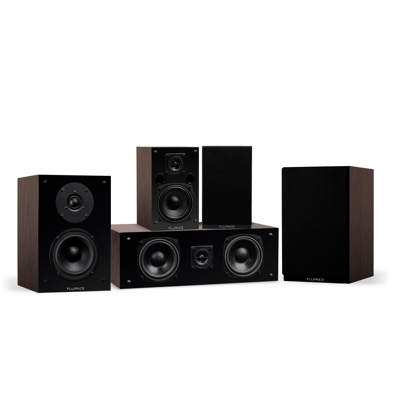 Elite Series Walnut Compact Surround Sound Home Theater 5.0 Channel Speaker System