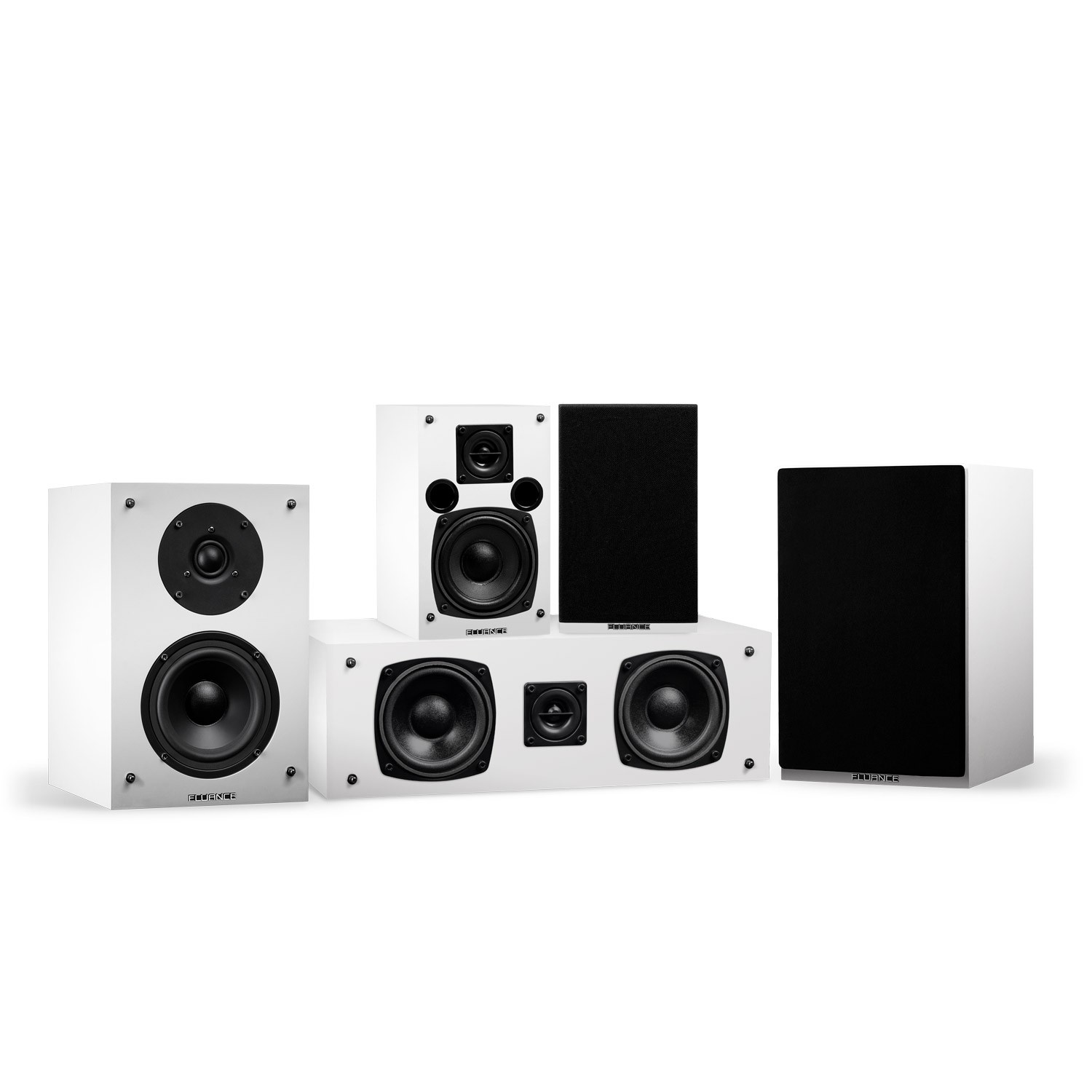 Elite Series White Compact Surround Sound Home Theater 5.0 Channel Speaker System