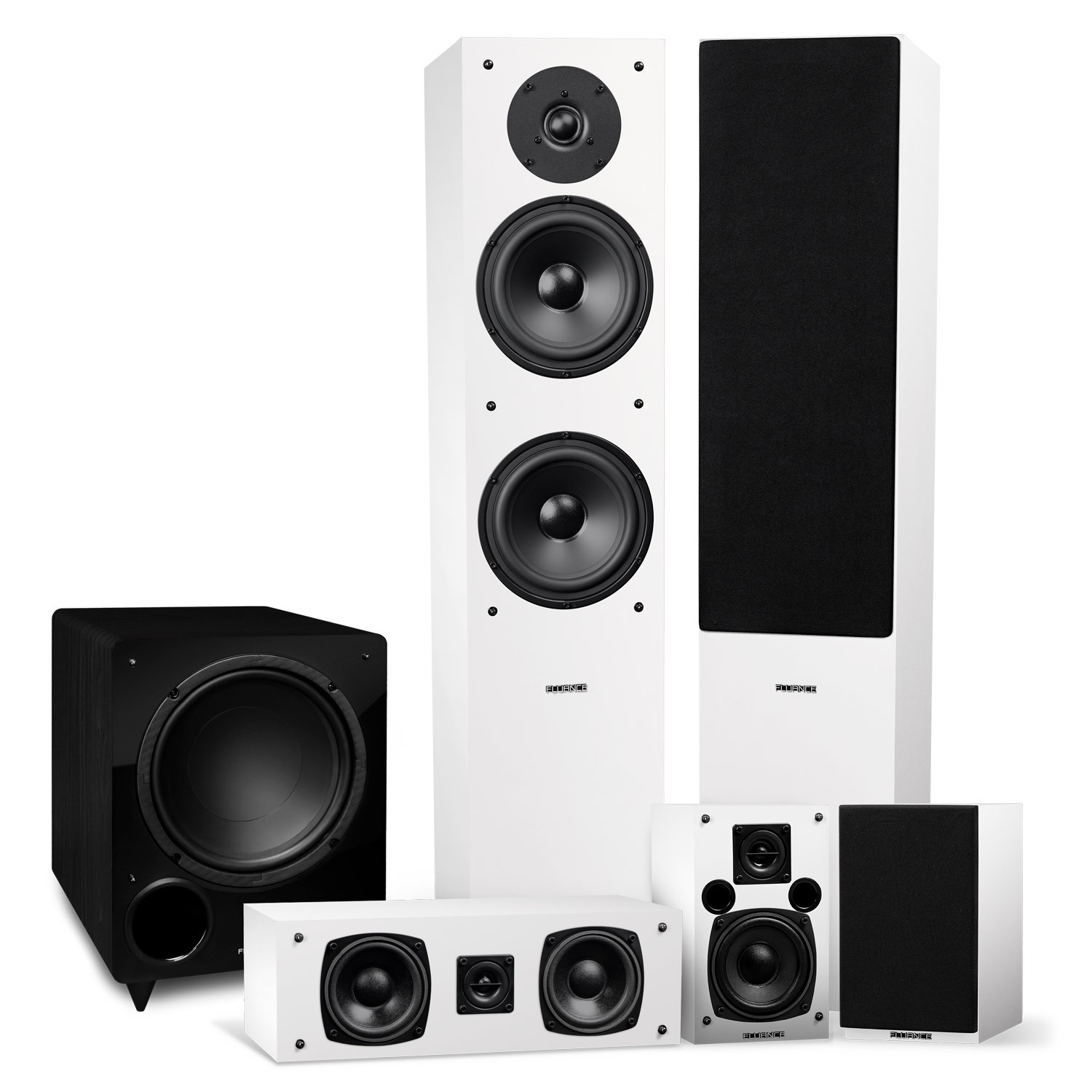 Elite Series Surround Sound Home Theater 5.1 Channel Speaker System - White - Main