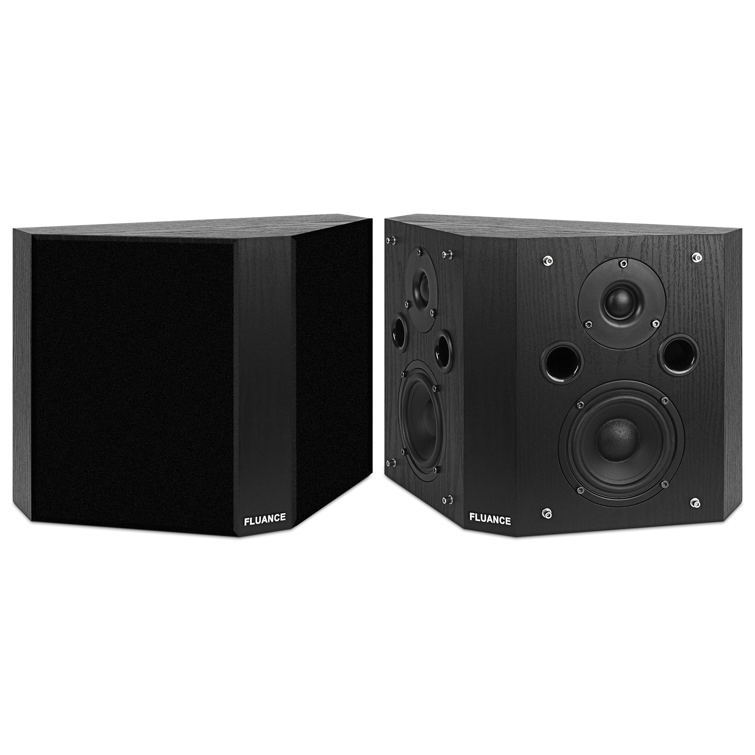 Fluance SXBP High Definition Bipolar Surround Sound Speakers - Black Ash