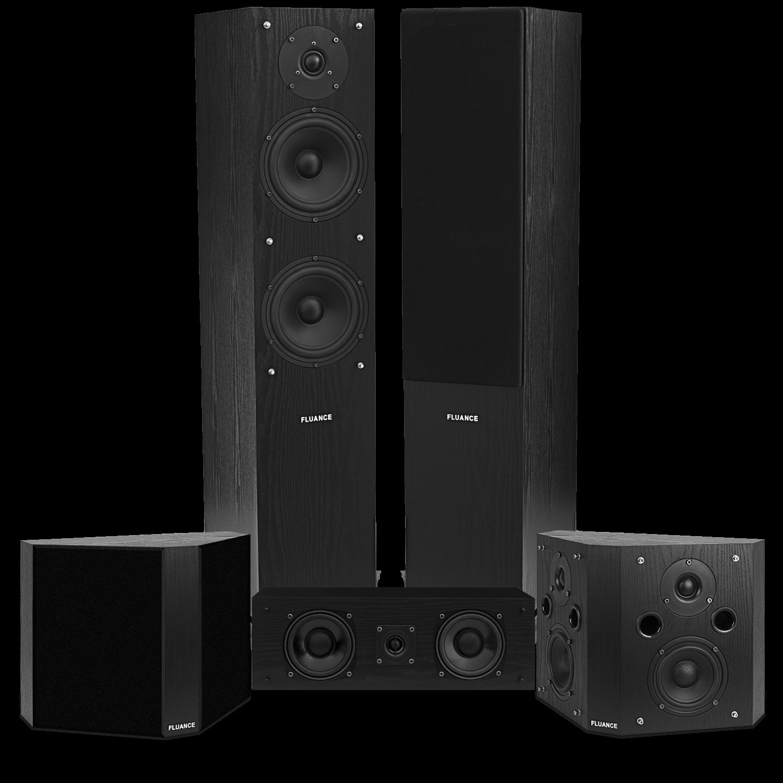 Fluance SXHTBBP-BK-KIT Classic Elite Home Theater System With Bipolar Speakers - Black