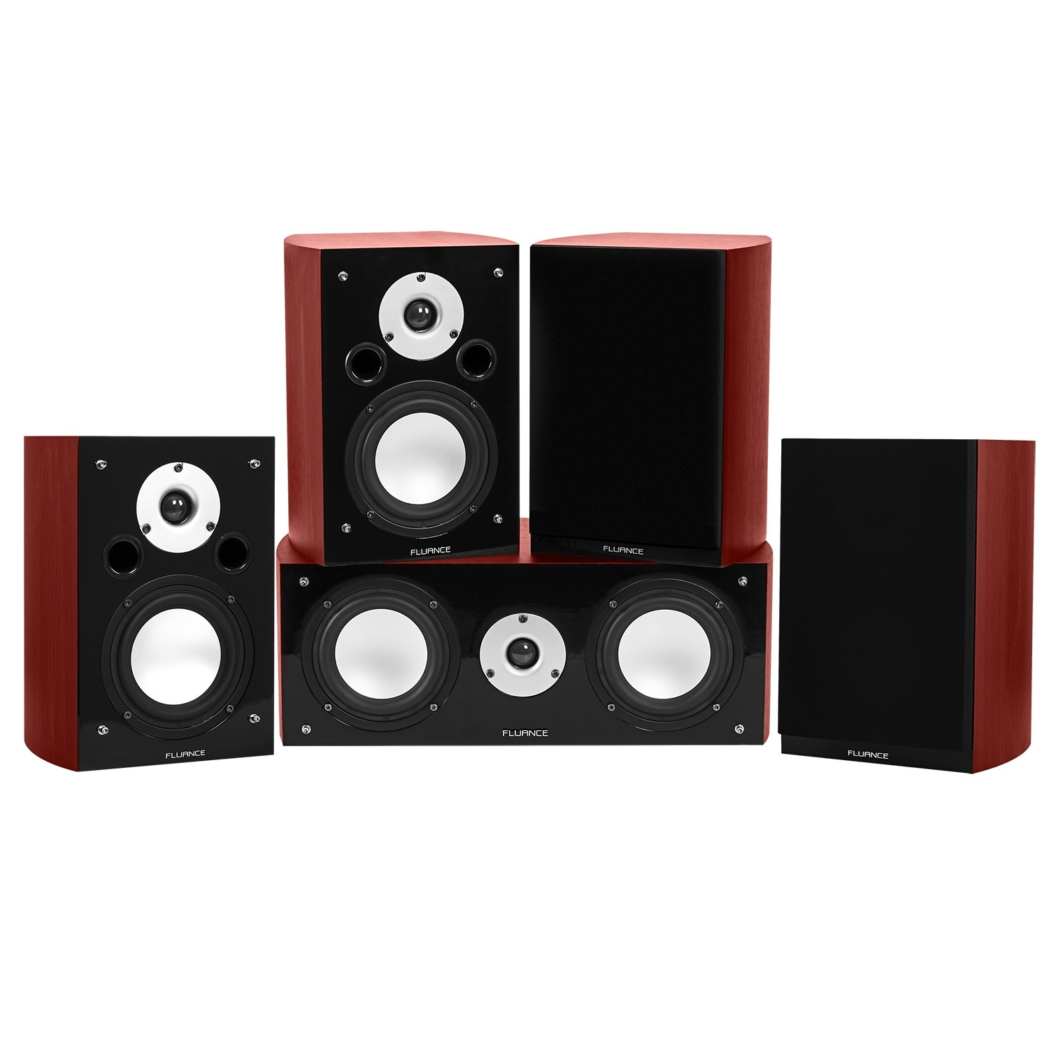 Reference Series Compact Surround Sound Home Theater 5.0 Channel Speaker System - Mahogany