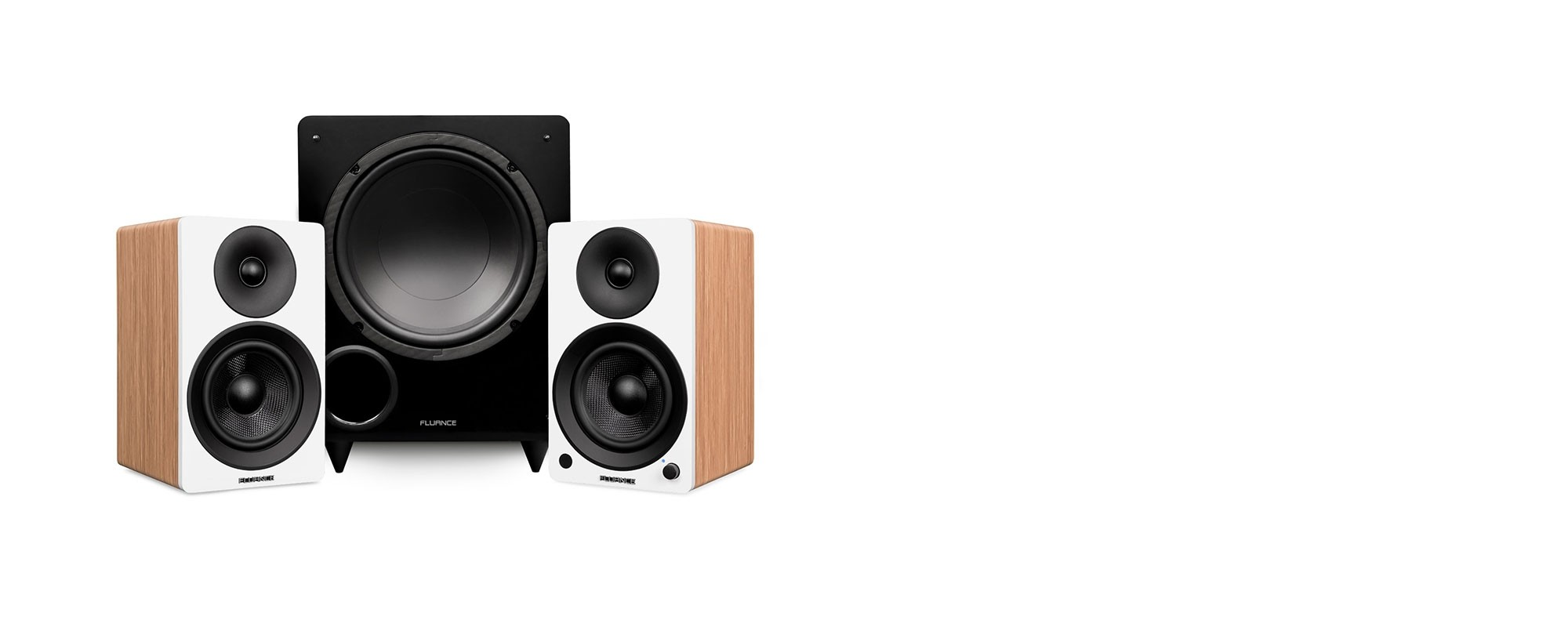 "Ai41 Powered 5"" Stereo Bookshelf Speakers and DB10 10-Inch Low Frequency Ported Front Firing Powered Subwoofer - Main Desktop"