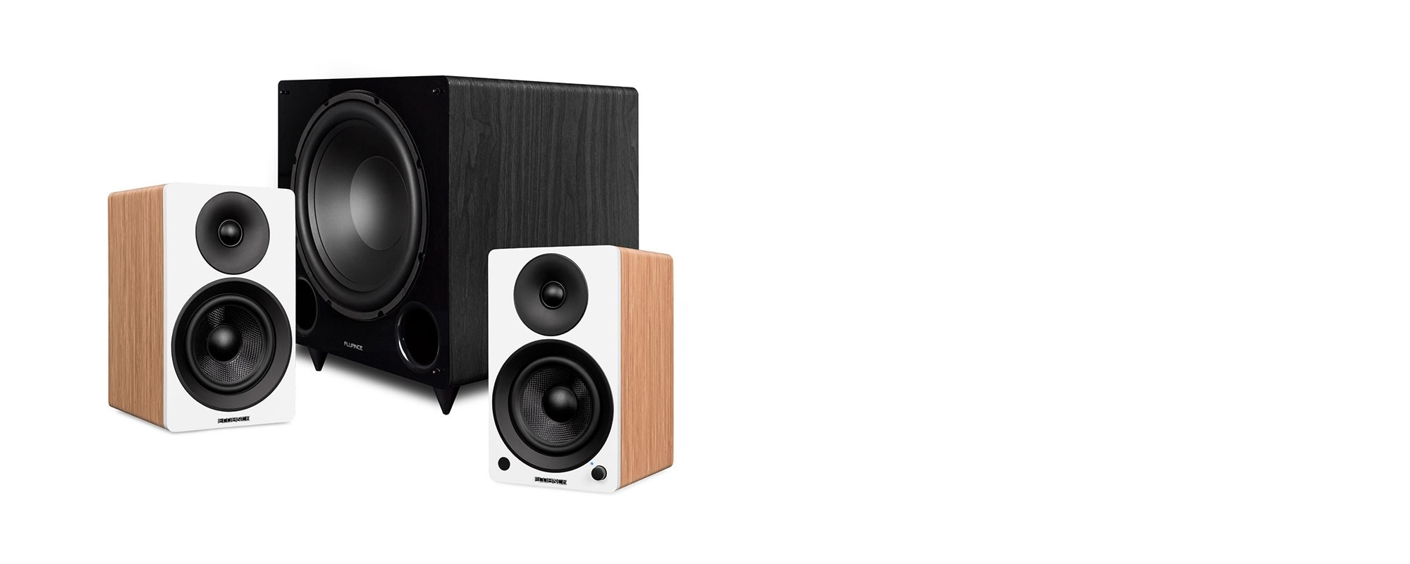 "Ai41 Powered 5"" Stereo Bookshelf Speakers and DB12 12-inch Low Frequency Ported Front Firing Powered Subwoofer - Main Desktop"