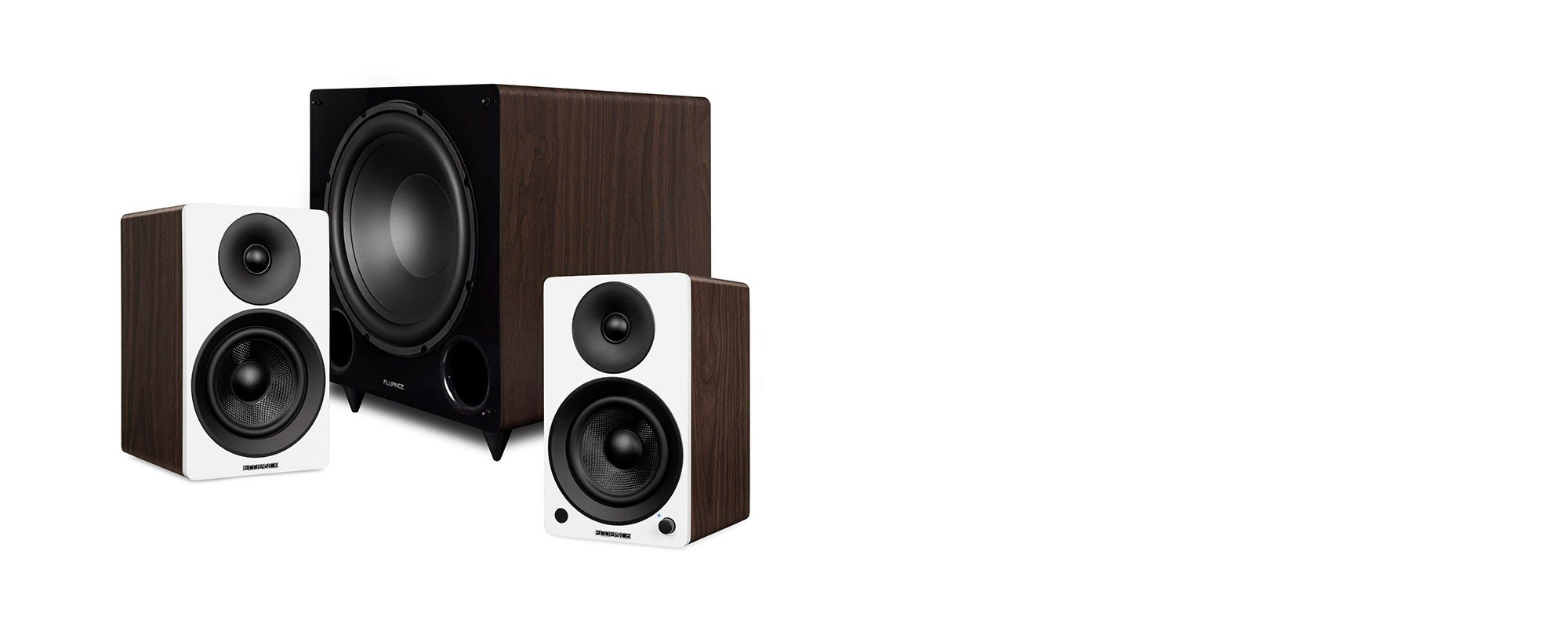 """Ai41 Powered 5"""" Stereo Bookshelf Speakers and DB12 12-inch Low Frequency Ported Front Firing Powered Subwoofer - Main Desktop"""