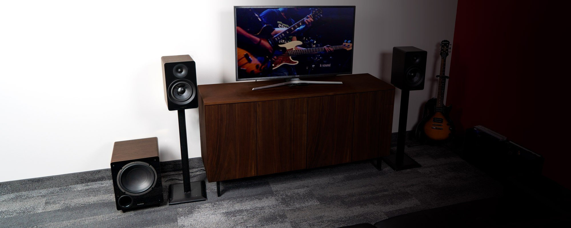 "Ai61 Powered 6.5"" Stereo Bookshelf Speakers and DB10 10-Inch Low Frequency Ported Front Firing Powered Subwoofer - Lifestyle"