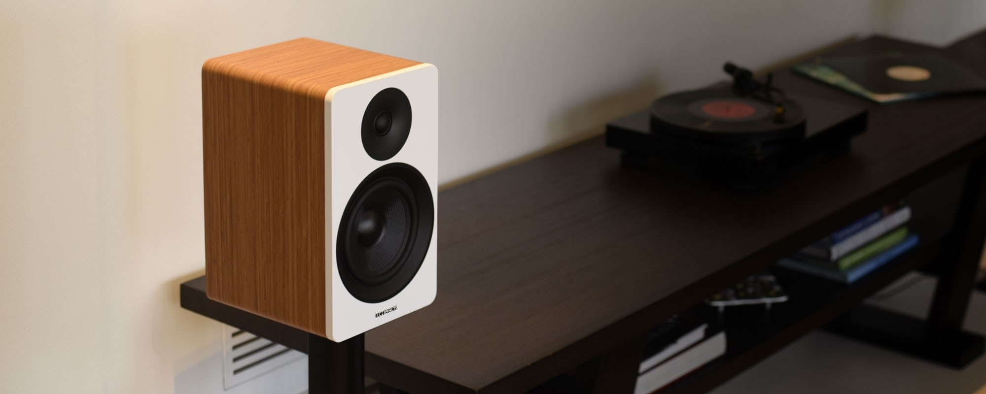 "Ai60 Powered 6.5"" High Performance Bookshelf Speakers - Bamboo"