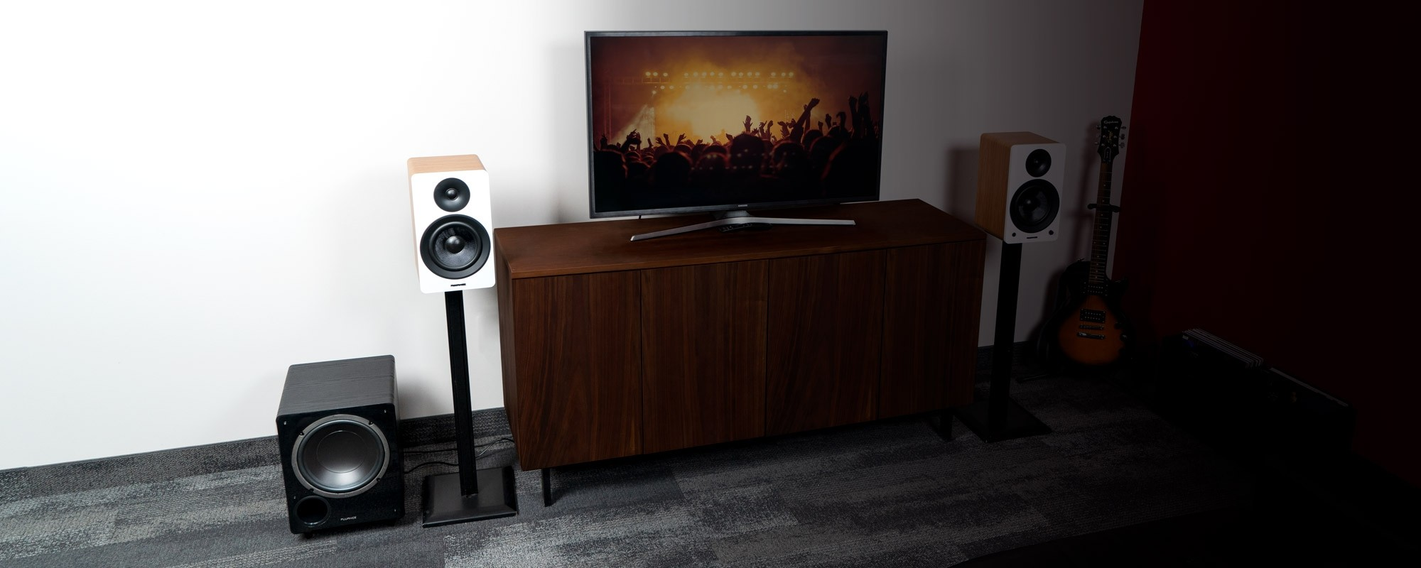 """Ai61 Powered 6.5"""" Stereo Bookshelf Speakers and DB10 10-Inch Low Frequency Ported Front Firing Powered Subwoofer - Lifestyle"""
