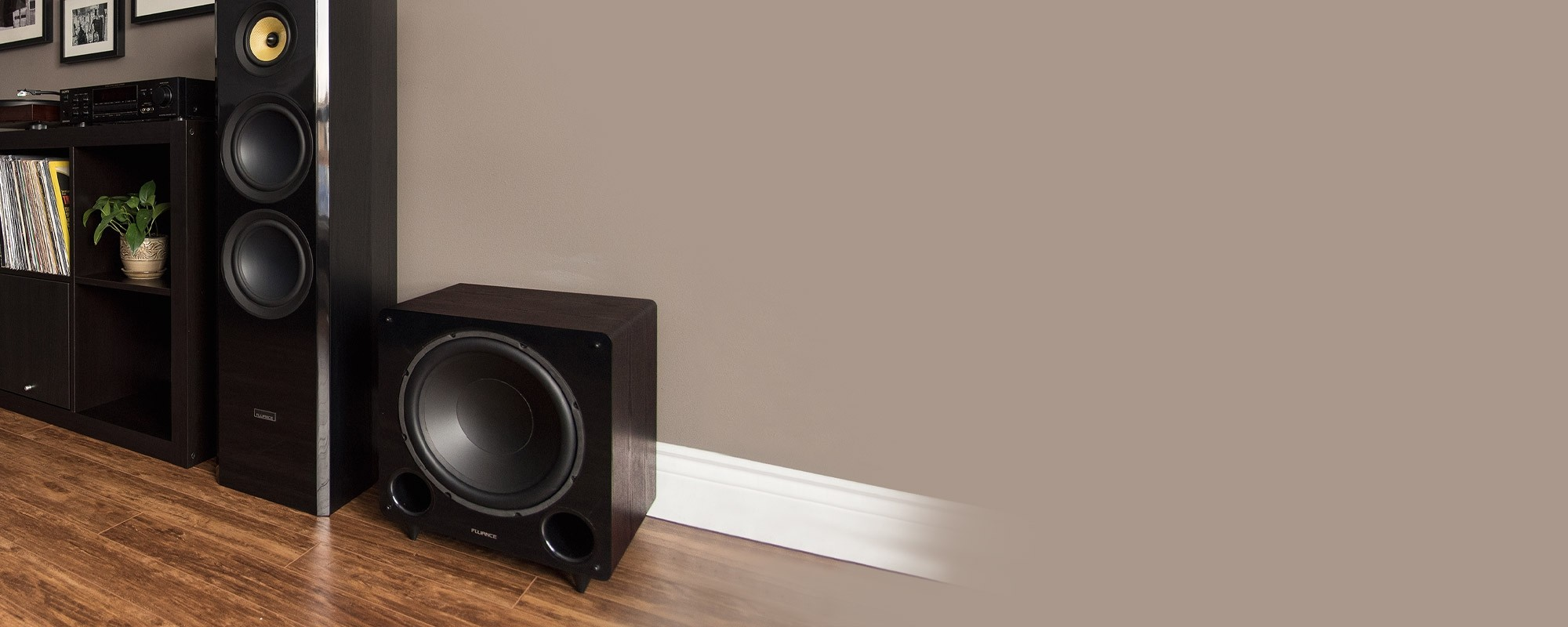 DB12 12-inch Walnut Low Frequency Ported Front Firing Powered Subwoofer - Lifestyle 2