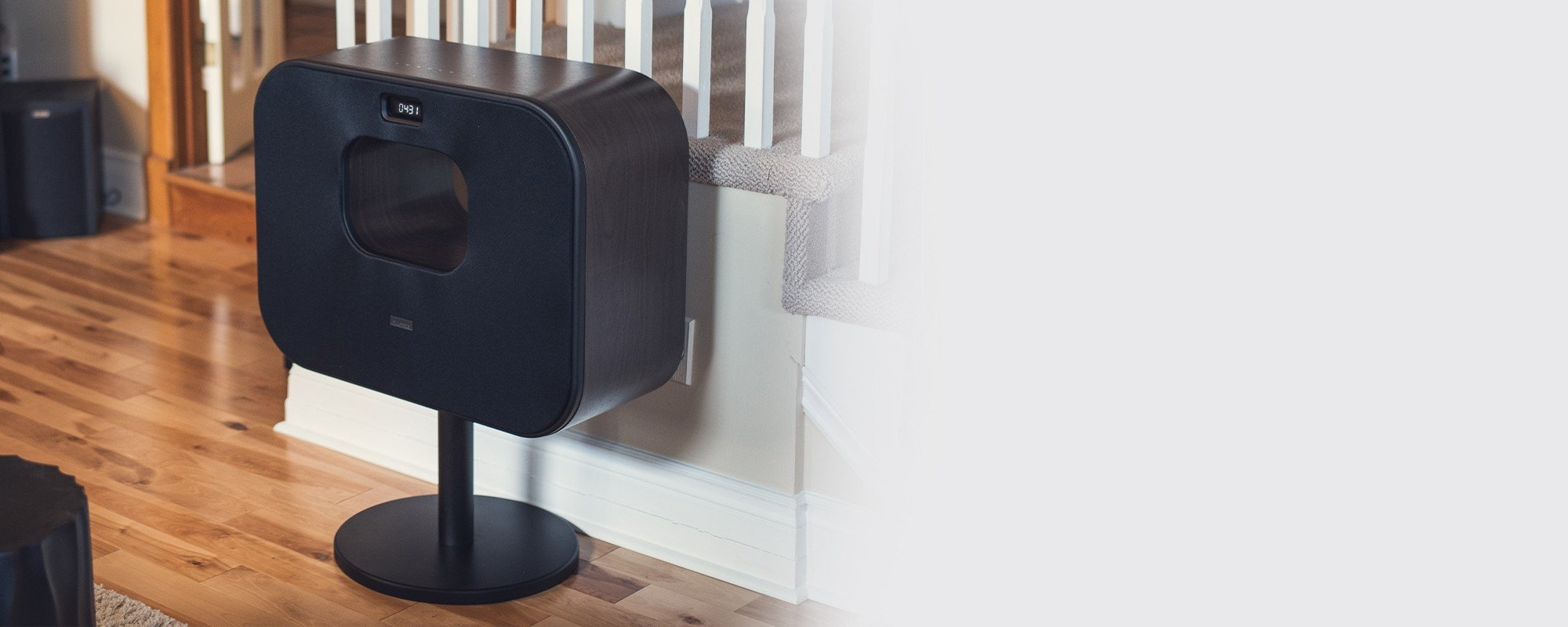 Fi70 Three-Way Wireless High Fidelity Music System - in front of stairs 2