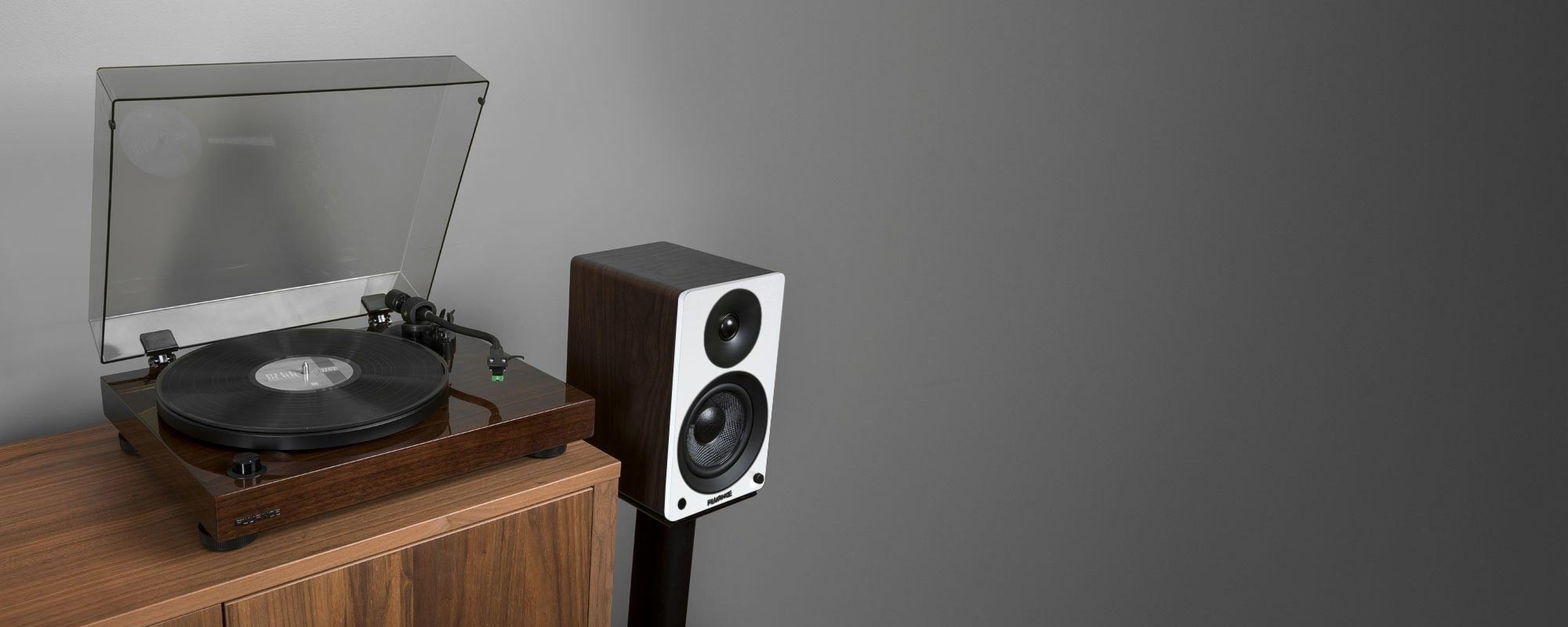 "RT81 Elite High Fidelity Vinyl Turntable with Ai41 Powered 5"" Stereo Bookshelf Speakers - Lifestyle"