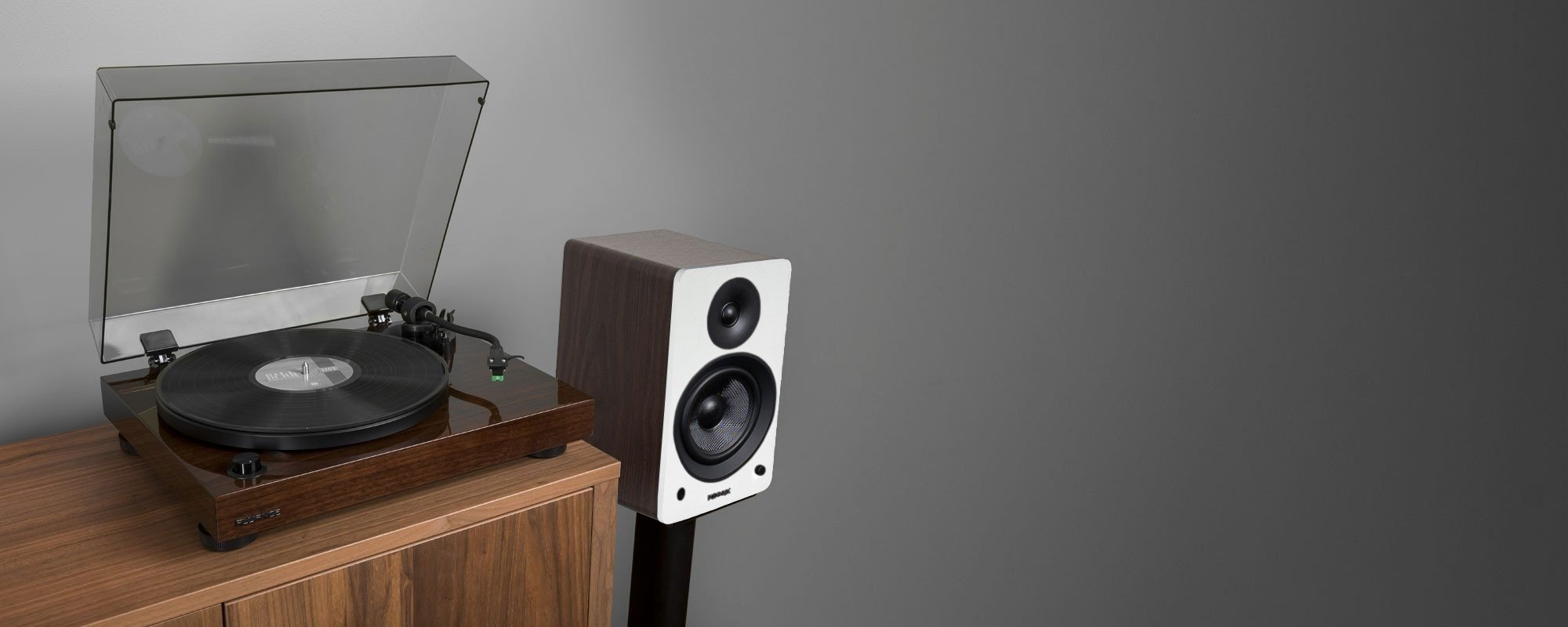 "RT81 Elite High Fidelity Vinyl Turntable with Ai61 Powered 6.5"" Stereo Bookshelf Speakers - Lifestyle"