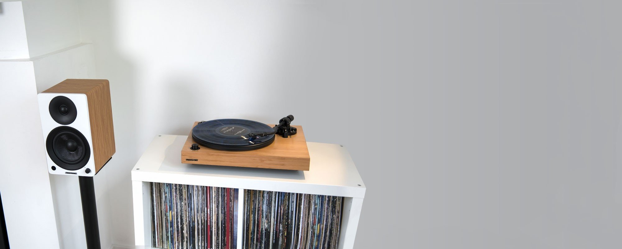 """Reference RT84 High Fidelity Vinyl Turntable with PA10 Phono Preamp and Ai41 Powered 5"""" Bookshelf Speakers - Lifestyle"""