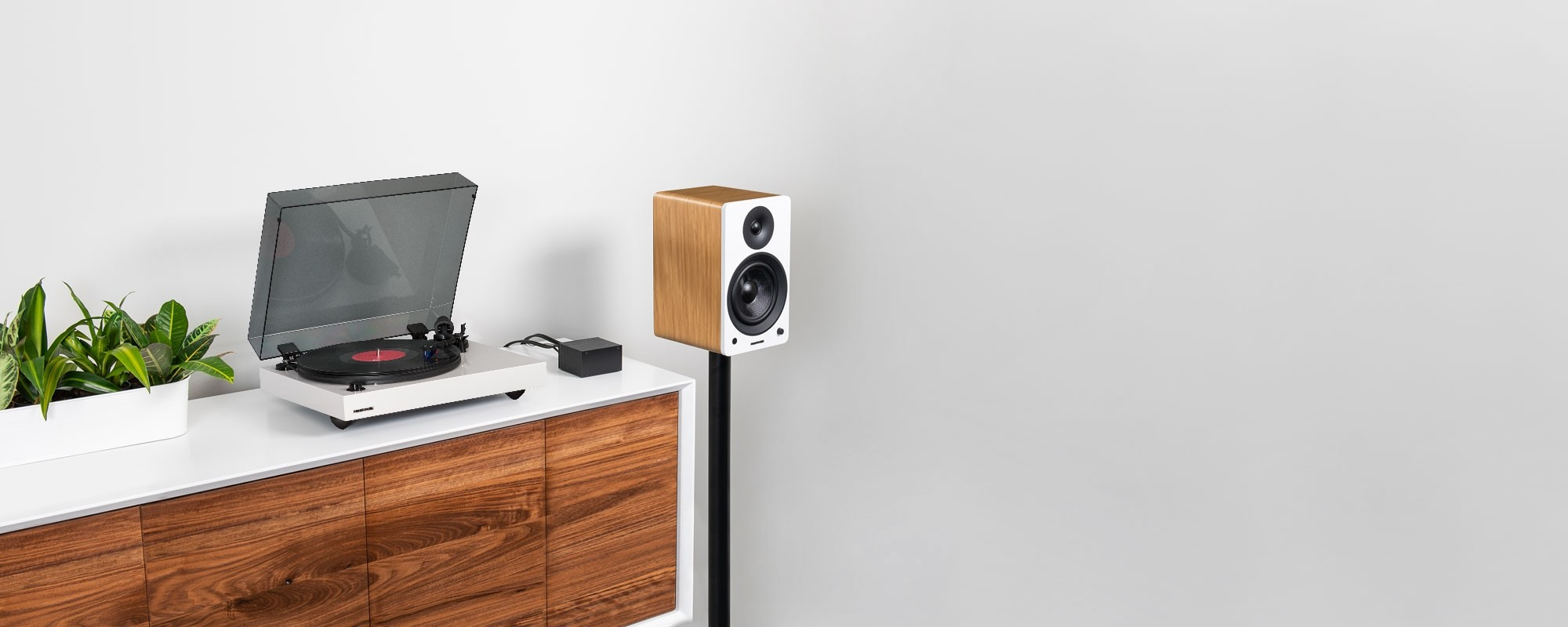 """Reference RT84 High Fidelity Vinyl Turntable with PA10 Phono Preamp and Ai61 Powered 6.5"""" Stereo Bookshelf Speakers - Lifestyle"""