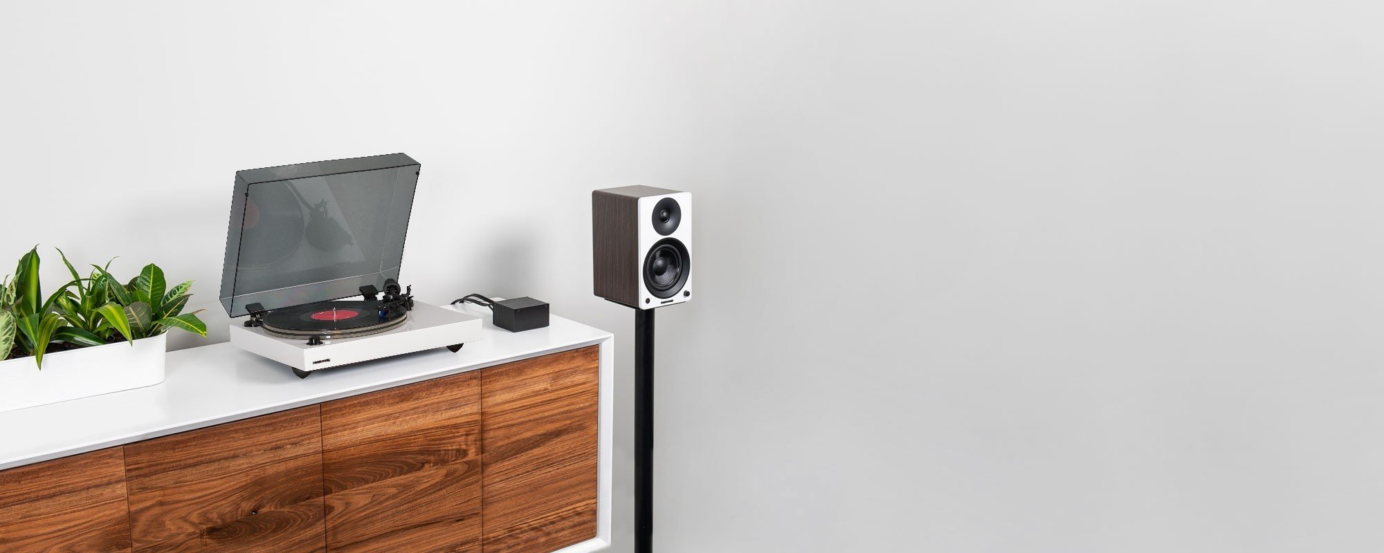 """Reference RT85 High Fidelity Vinyl Turntable with PA10 Phono Preamp and Ai41 Powered 5"""" Bookshelf Speakers - Lifestyle"""