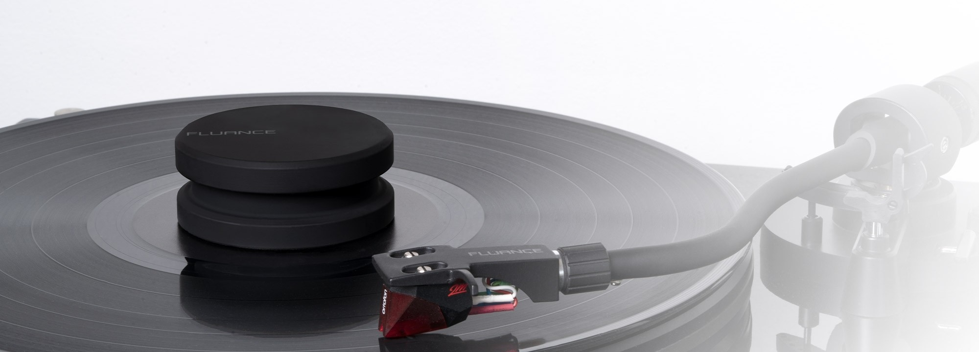 Vinyl Record and Stylus Anti-static Carbon Fiber Brushes with Fluance Frosted Acryclic Platter and Record Weight - Lifestyle