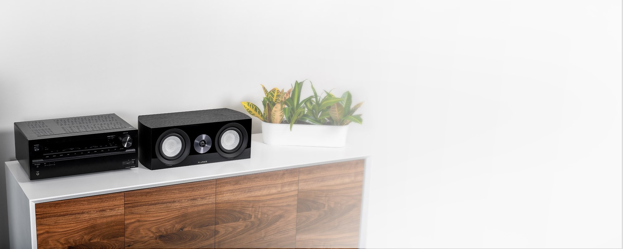 XL8C Center Channel Speaker with Receiver and plant