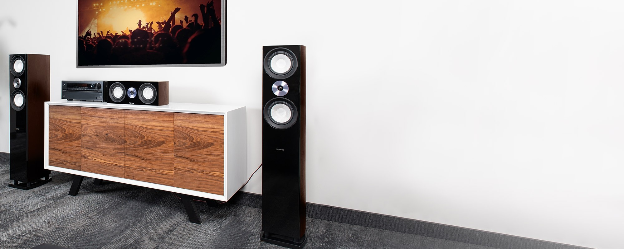XL8FW Floorstanding Speakers with XL8C Center Channel Speaker - Home Theater Setup