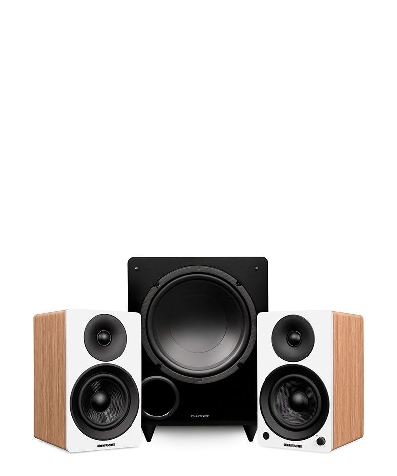 "Ai41 Powered 5"" Stereo Bookshelf Speakers and DB10 10-Inch Low Frequency Ported Front Firing Powered Subwoofer - Main Mobile"