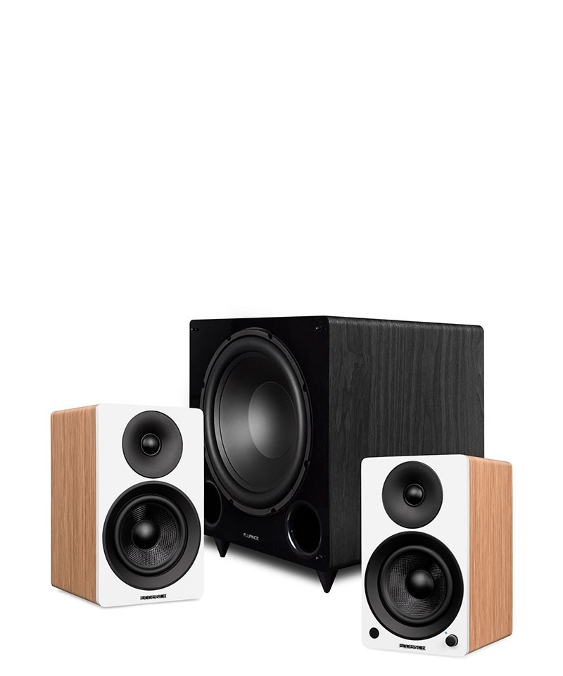 "Ai41 Powered 5"" Stereo Bookshelf Speakers and DB12 12-inch Low Frequency Ported Front Firing Powered Subwoofer - Main Mobile"