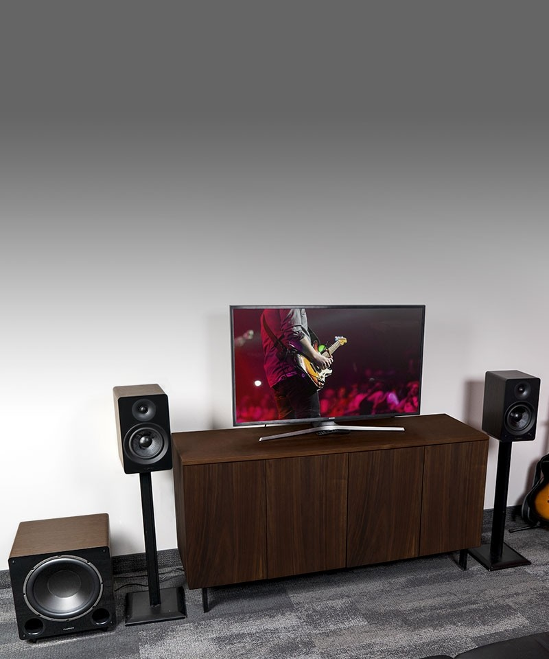 """Ai61 Powered 6.5"""" Stereo Bookshelf Speakers and DB12 12-inch Low Frequency Ported Front Firing Powered Subwoofer - Lifestyle Mobile"""