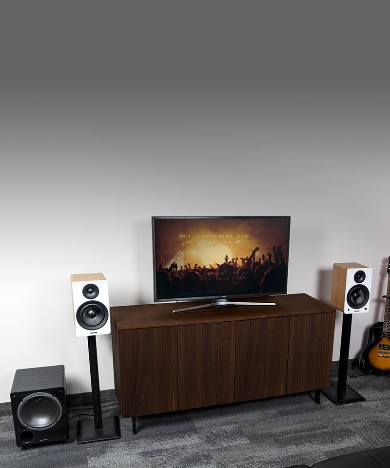 """Ai61 Powered 6.5"""" Stereo Bookshelf Speakers and DB10 10-Inch Low Frequency Ported Front Firing Powered Subwoofer - Lifestyle Mobile"""