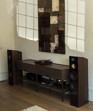 Signature Series Natural Walnut Hi-Fi Three-way Floorstanding Speakers - Lifestyle 2