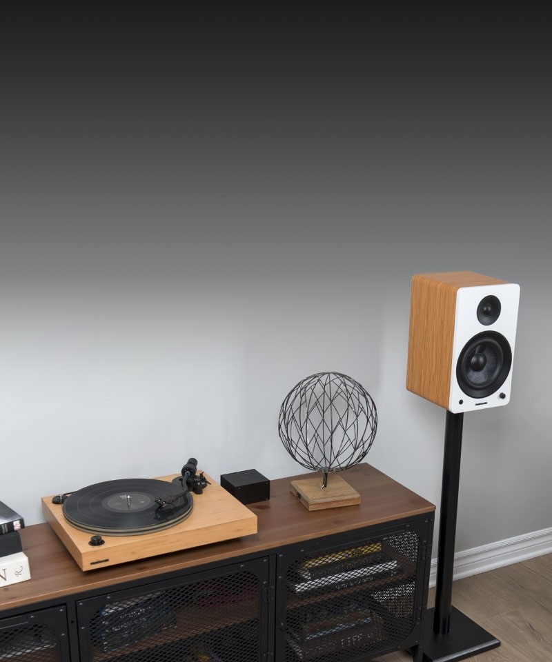 "Reference RT82 High Fidelity Vinyl Turntable with PA10 Phono Preamp and Ai61 Powered 6.5"" Bookshelf Speakers - Lifestyle Mobile"