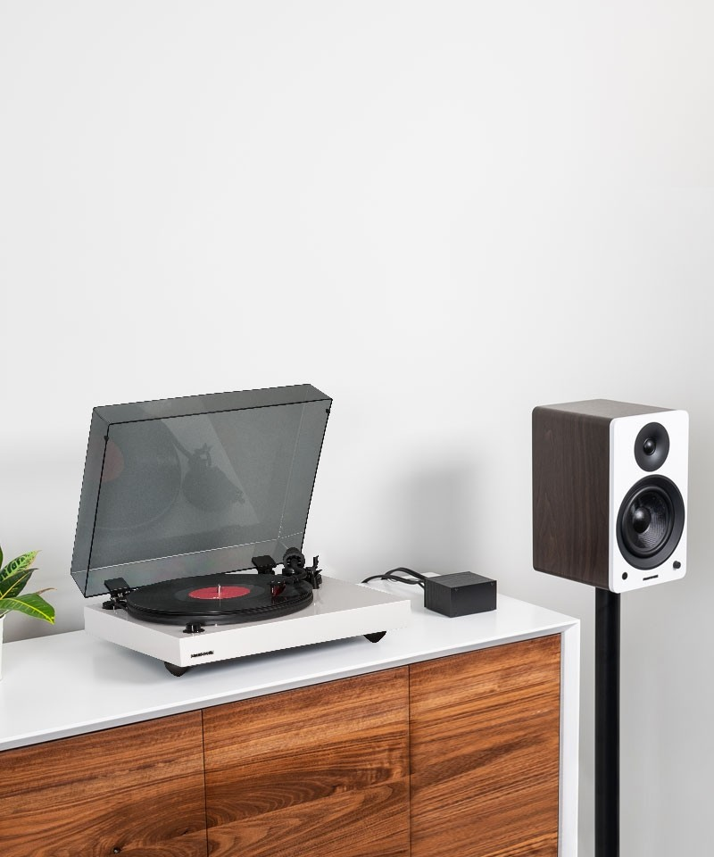 """Reference RT83 High Fidelity Vinyl Turntable with PA10 Phono Preamp and Ai61 Powered 6.5"""" Stereo Bookshelf Speakers - Lifestyle Mobile"""