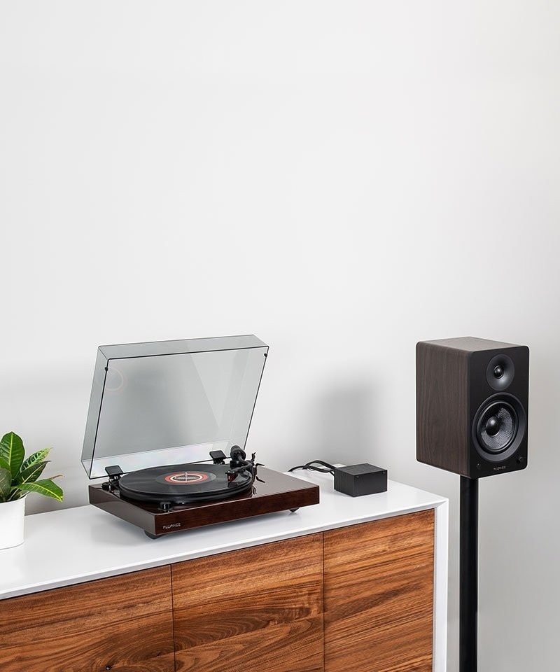 "Reference RT83 High Fidelity Vinyl Turntable with PA10 Phono Preamp and Ai61 Powered 6.5"" Stereo Bookshelf Speakers - Lifestyle Mobile"