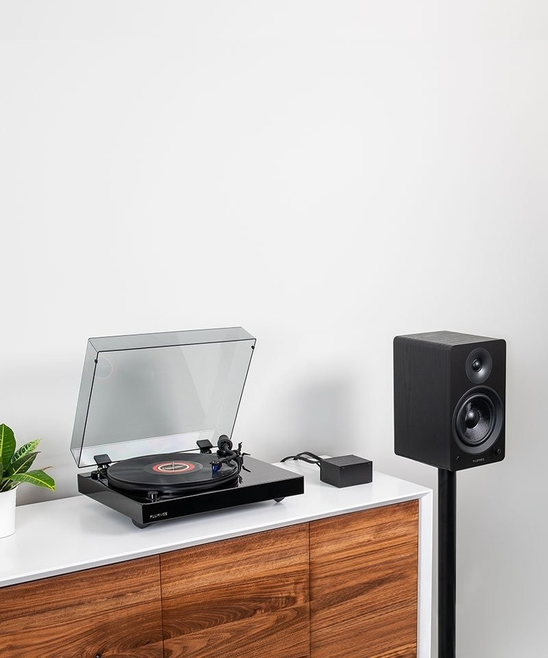 "Reference RT84 High Fidelity Vinyl Turntable with PA10 Phono Preamp and Ai61 Powered 6.5"" Stereo Bookshelf Speakers - Lifestyle Mobile"