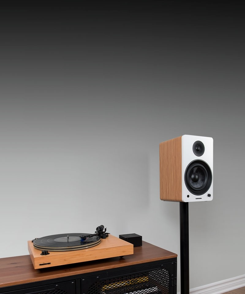 "Reference RT85 High Fidelity Vinyl Turntable with PA10 Phono Preamp and Ai61 Powered 6.5"" Stereo Bookshelf Speakers - Lifestyle Mobile"