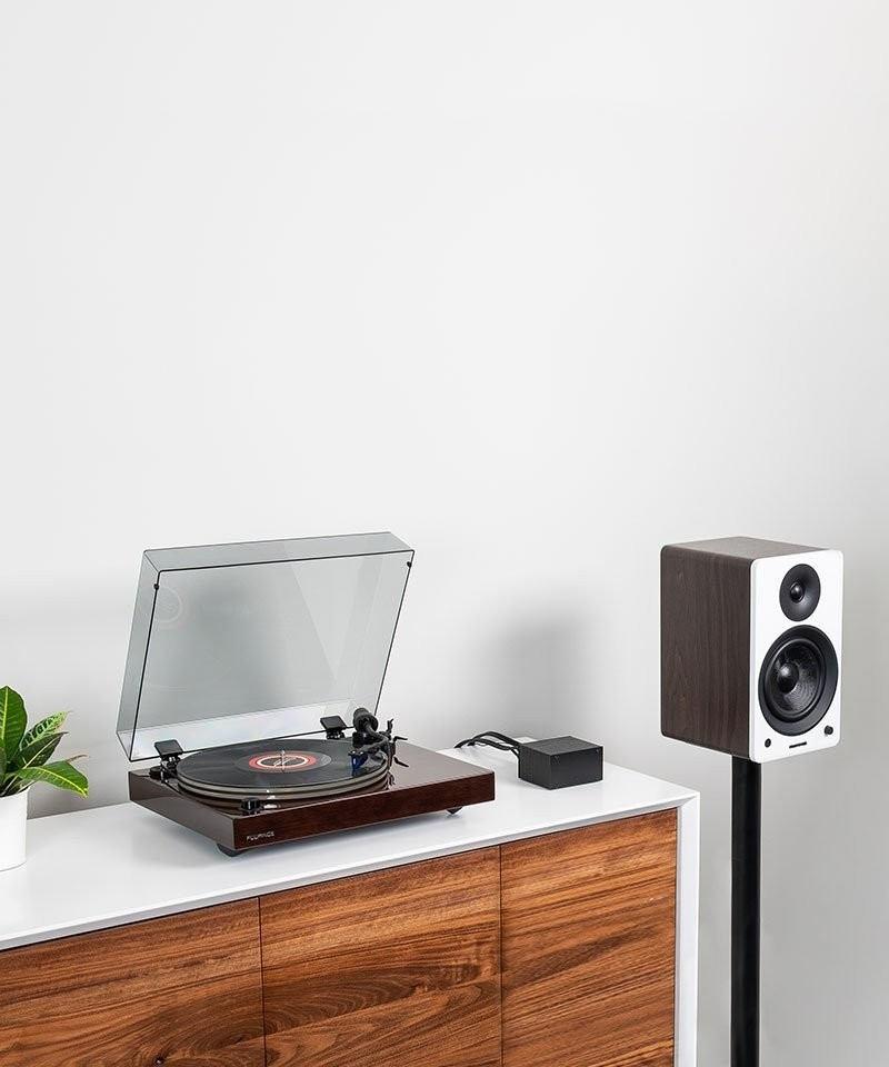 """Reference RT85 High Fidelity Vinyl Turntable with PA10 Phono Preamp and Ai61 Powered 6.5"""" Stereo Bookshelf Speakers - Lifestyle Mobile"""