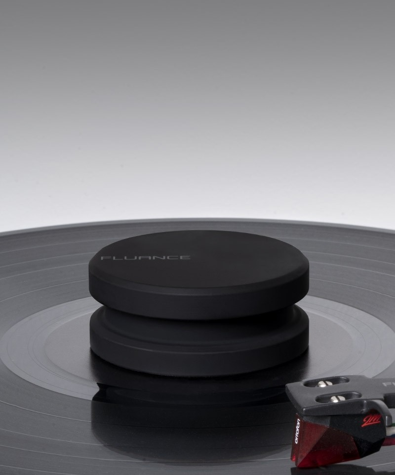 Vinyl Record and Stylus Anti-static Carbon Fiber Brushes with Fluance Frosted Acryclic Platter and Record Weight - Lifestyle Mobile