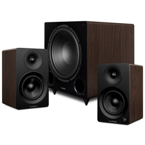 """Ai41 Powered 5"""" Stereo Bookshelf Speakers and DB12 12-inch Low Frequency Ported Front Firing Powered Subwoofer - Thumbnail"""