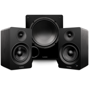 """Ai61 Powered 6.5"""" Stereo Bookshelf Speakers and DB10 10-Inch Low Frequency Ported Front Firing Powered Subwoofer - Thumbnail"""
