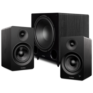 "Ai61 Powered 6.5"" Stereo Bookshelf Speakers and DB12 12-inch Low Frequency Ported Front Firing Powered Subwoofer - Thumbnail"