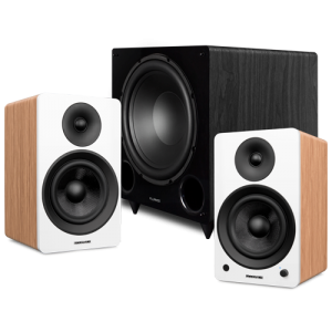 """Ai61 Powered 6.5"""" Stereo Bookshelf Speakers and DB12 12-inch Low Frequency Ported Front Firing Powered Subwoofer - Thumbnail"""