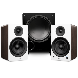 "Ai61 Powered 6.5"" Stereo Bookshelf Speakers and DB10 10-Inch Low Frequency Ported Front Firing Powered Subwoofer - Thumbnail"